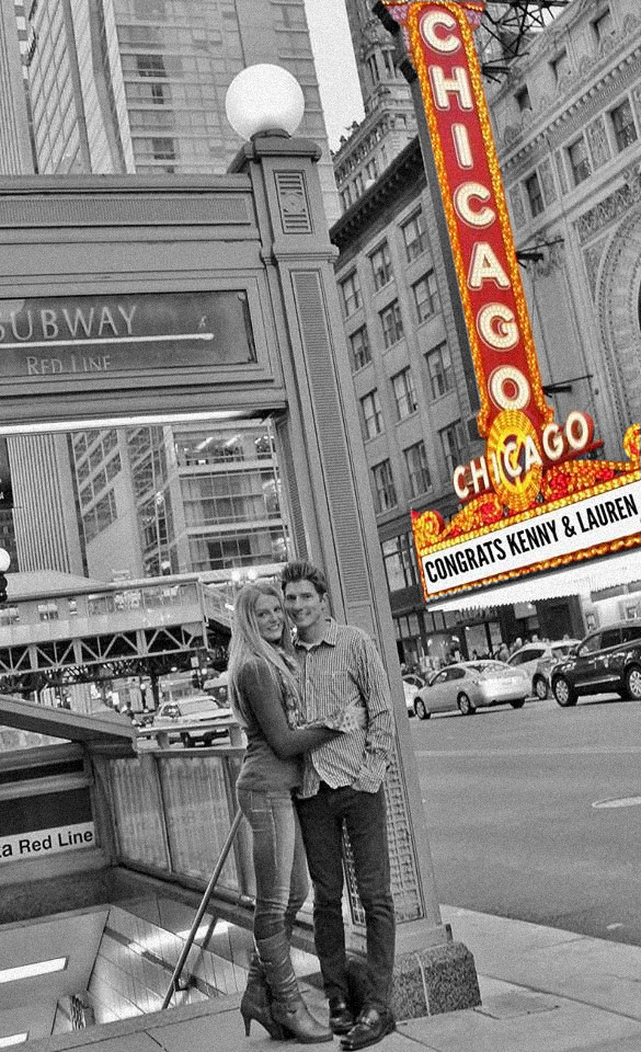 Kenneth Kiwicz and Lauren Engagement Photos- Chicago Theater