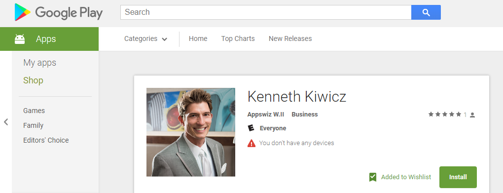 Kenneth J Kiwicz shows the applications page on the google play store