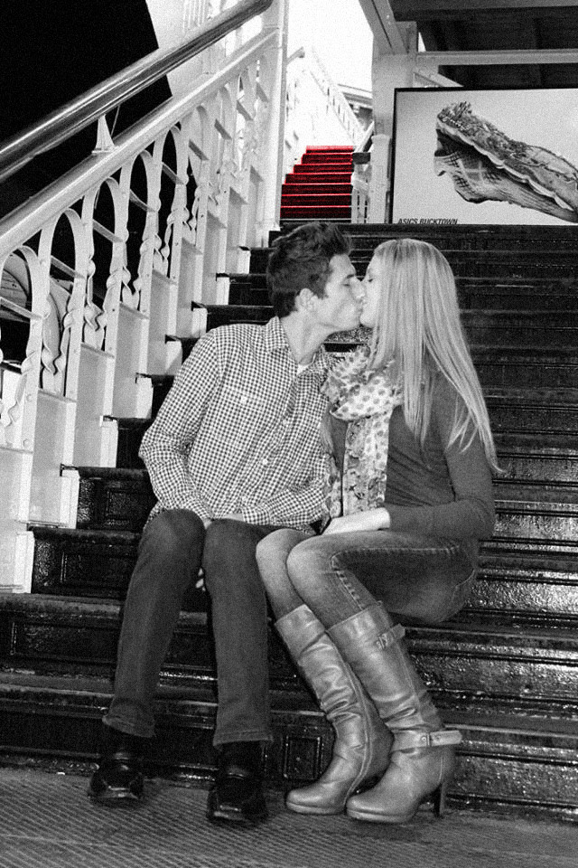 Kenneth Kiwicz and Lauren Engagement Photos- Red Stairs