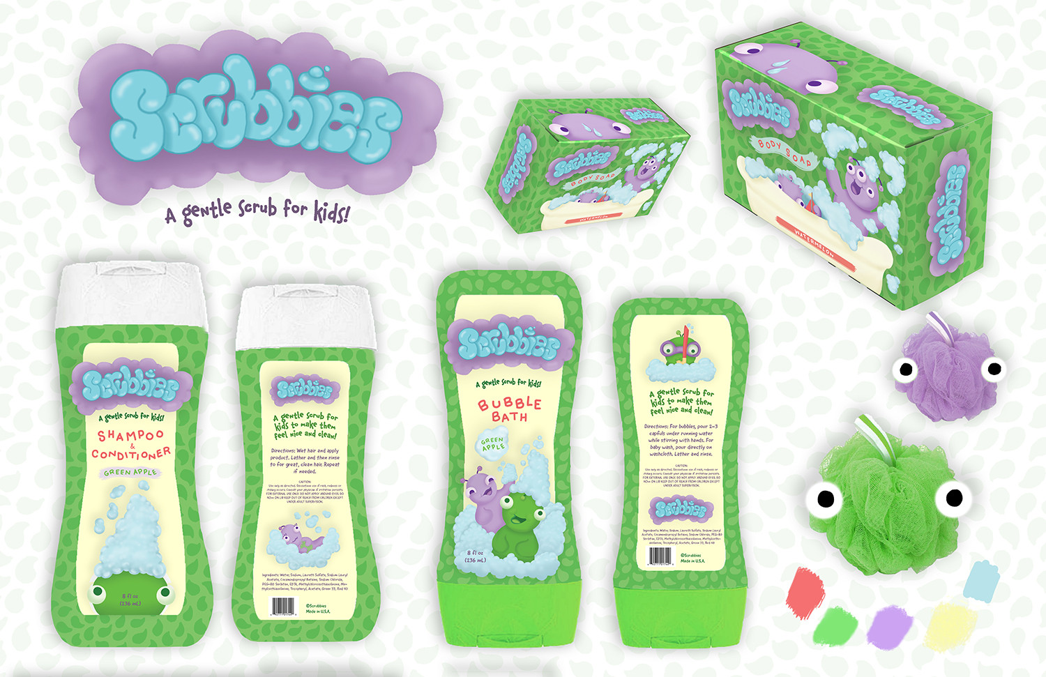 """""""Scrubbies"""" Bath Product Packaging"""