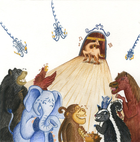 The Monkey and the Camel Fable Illustration