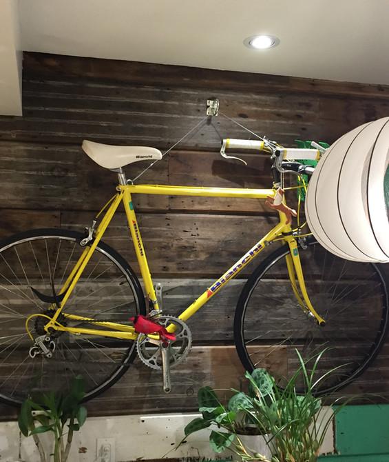 Bike on exposed original wall