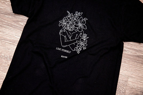 Love Yourself Floral Black Tee