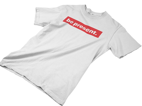 "Classic ""be present"" Box Logo in Cherry Red Tee"