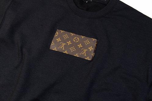 LV Designer Patch Oversized Crewneck Black Sweatshirt