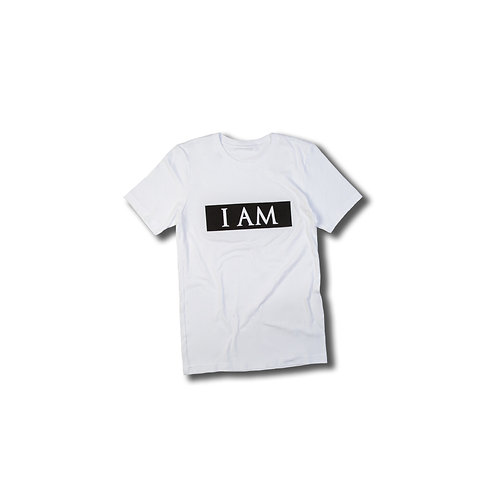 """I AM"" Box Logo White Tee"