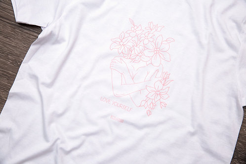 Love Yourself Pink Floral White Tee