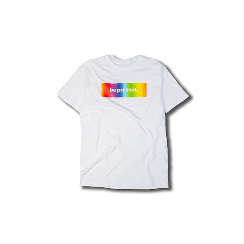 "Rainbow Tie-Dye ""be present""  Box Logo White tee"