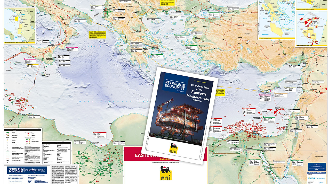 Oil & Gas Map of the Eastern Mediterranean - 2nd edition