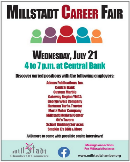 Get Hired! Millstadt Career Fair July 21 from 4-7 at Millstadt Central Bank