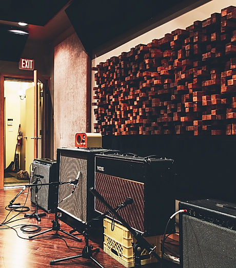Amps for days in the live room at Echoplant Studio B