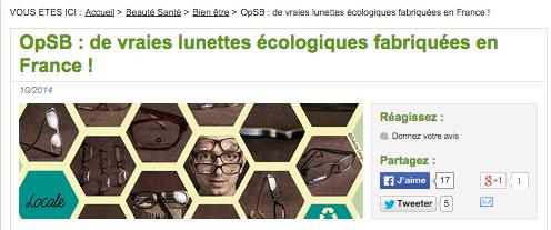 OpSB : lunettes écologiques fabriquées en France !