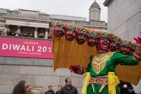 Stilt Walking with Enter Edem at 'Diwali in the square 2019' Trafalgar Square, London