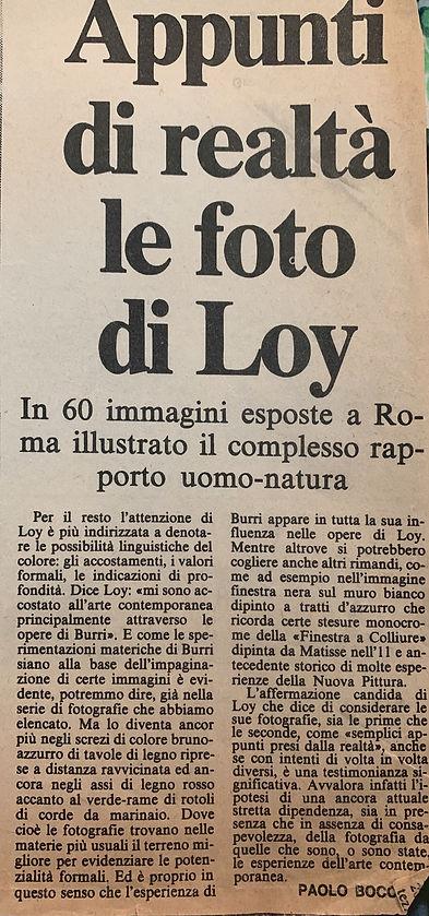 Loy, mostra politecnico, Paese Sera, par