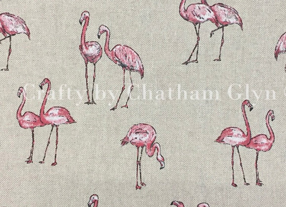 Flamingo linen look canvas