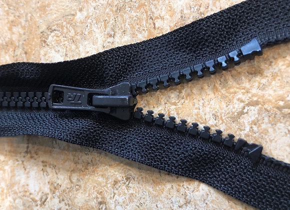 Chunky plastic open end zips