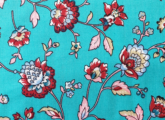 Floral (torquoise background) cotton 28