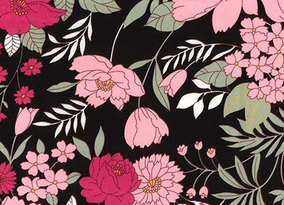 Cotton floral - pink flowers