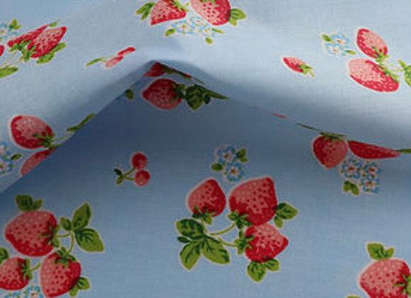 Blue strawberries polycotton