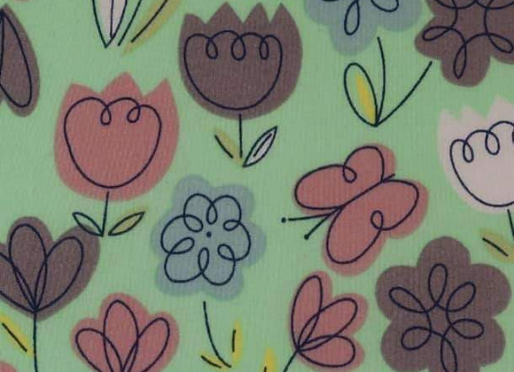 Flowers and butterflies polycotton