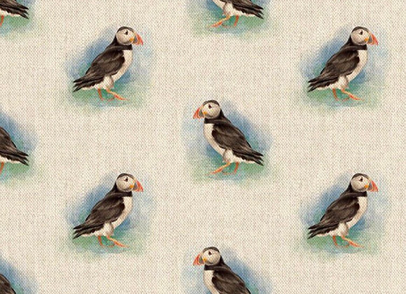 Puffin linen look canvas