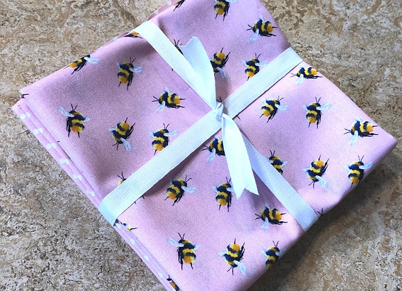 Pink bee fat quarters cotton