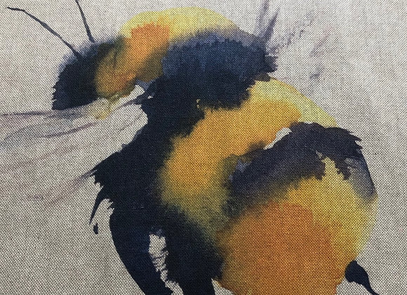 Bee cushion front linen look