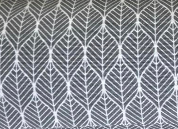 Grey leaf canvas linen look