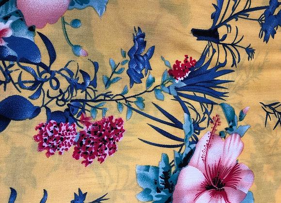 Okra floral viscose