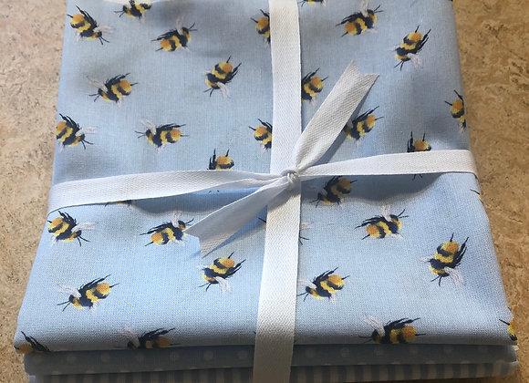Blue bee fat quarters cotton