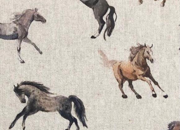 Horses linen look canvas