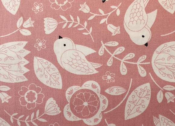 Floral with birds (pink) cotton 21