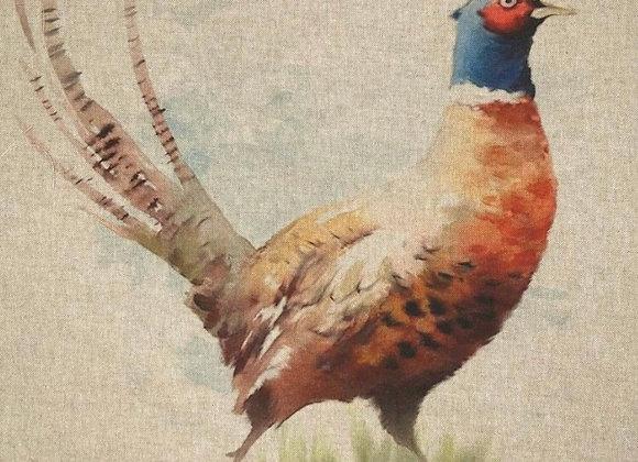 Pheasant cushion front linen look