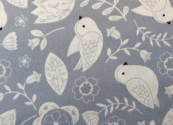 Floral and birds (grey) cotton 26