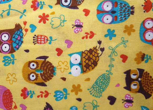 Happy owls mustard - cotton