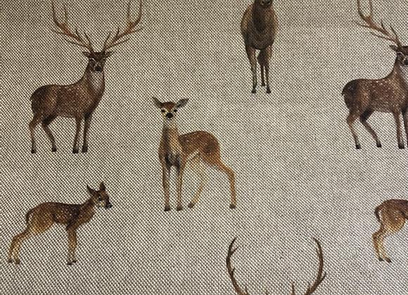 Stag and Deer Linen-Look
