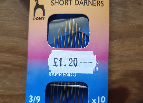 Short Darners Needles 3/9