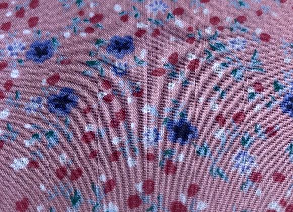 Pink/blue floral polycotton