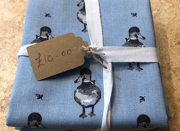 Hedgehog/duck/spot/blue and grey cotton