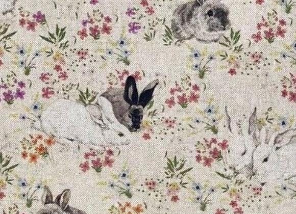 Floral rabbit linen look