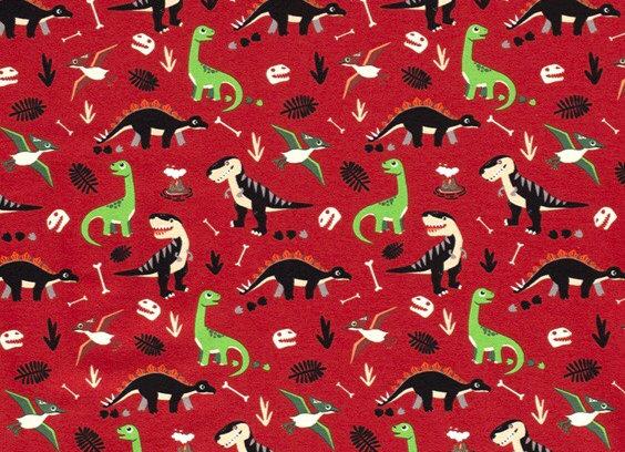red dinosaur cotton jersey