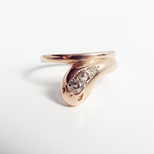 Antique gold and old cut diamond snake ring