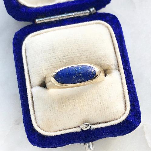 Vintage 9ct gold and lapis lazuli ring