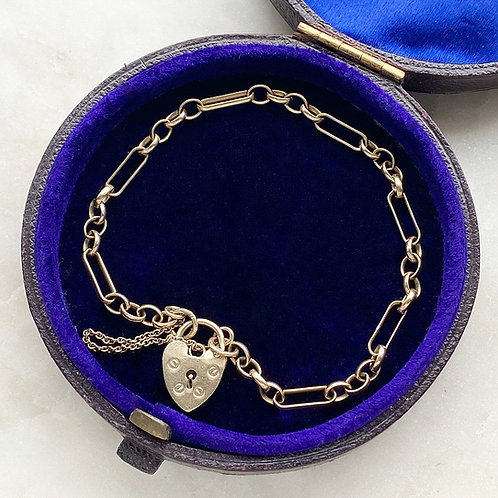 Vintage, 9ct gold, long and short link, padlock bracelet