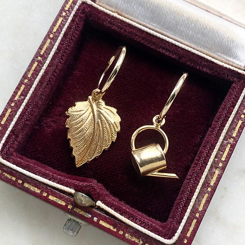 Vintage gold watering can and leaf charm hoops