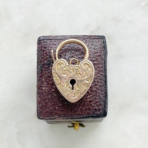 Antique 9ct rose gold engraved heart padlock