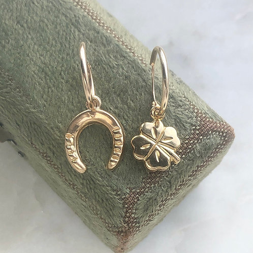 Vintage gold lucky horseshoe and four leaf clover charm hoops