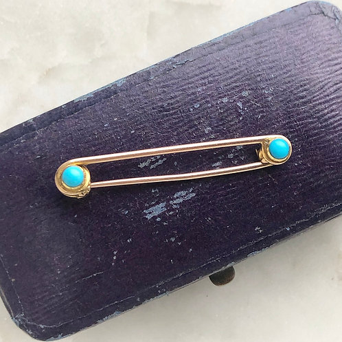 Antique 9ct gold and turquoise safety pin brooch