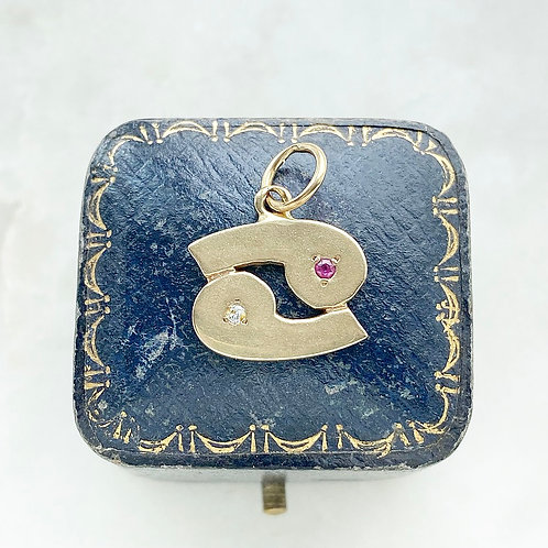 Vintage 9ct gold, diamond and ruby Cancer zodiac charm