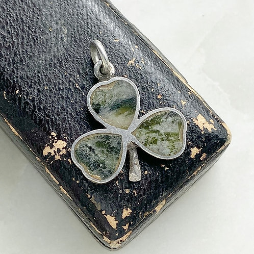 Vintage 1970 sterling silver and Connemara marble shamrock charm